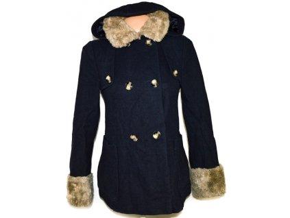 Vlněný dámský modrý kabát s kožíškem TOPSHOP