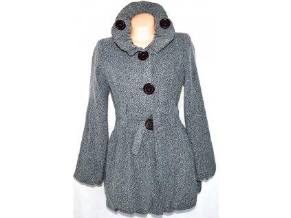 Dámský šedočerný kabát s páskem UK 12/ L