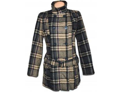 Vlněný dámský károvaný kabát s páskem F&FVlněný dámský károvaný kabát s páskem F&F L