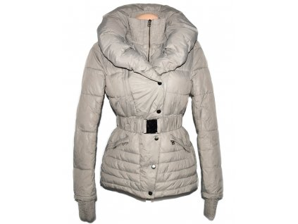 Dámský béžový šusťákový kabát s páskem a límcem ZARA M