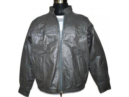 KOŽENÁ pánská šedá bunda na zip L