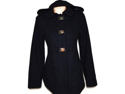 Vlněný dámský modrý kabát s kapucí TOPSHOP XS