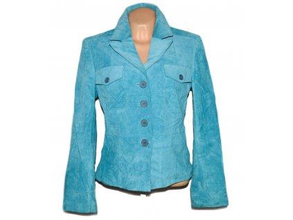 KOŽENÉ dámské broušené modré sako Authentic L
