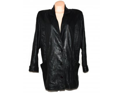 Kožený dámský černý měkký kabát XXL