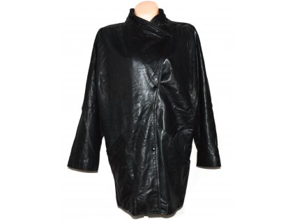 KOŽENÝ dámský černý měkký kabát OSDIN XXL