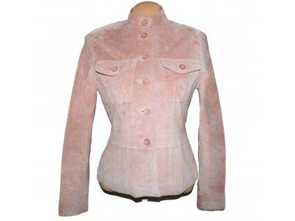 KOŽENÁ dámská růžová broušená bunda PAPAYA M