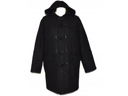 Vlněný pánský šedočerný zateplený kabát s kapucí Petroleum M