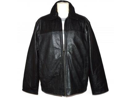 KOŽENÁ pánská černá měkká zateplená bunda na zip GEORGE XXL