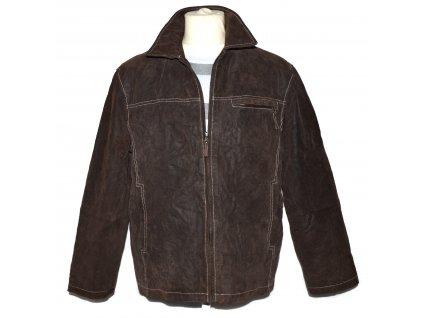 KOŽENÁ pánská hnědá zateplená bunda na zip L