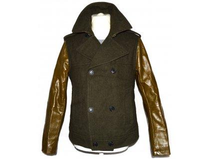 Vlněná pánská khaki zelená bunda na zip H&M S/M