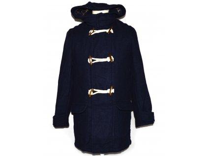 Vlněný pánský modrý kabát s kapucí Blackstone S