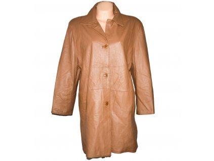 KOŽENÝ dámský hnědý měkký kabát Euro Moda XXL