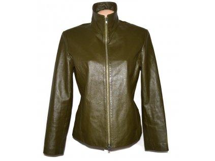 KOŽENÁ dámská khaki zelená měkká bunda na zip 44