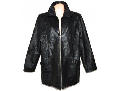 KOŽENÝ dámský černý měkký kabát na zip MILAN LEATHER XXL
