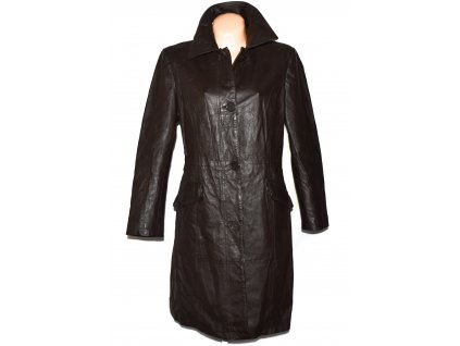KOŽENÝ dámský hnědý dlouhý kabát Great Coat Company XL