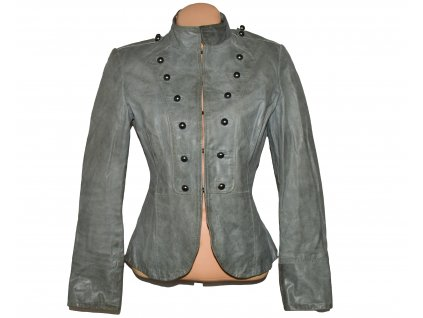 KOŽENÁ dámská šedozelená bunda Tom Wolfe L