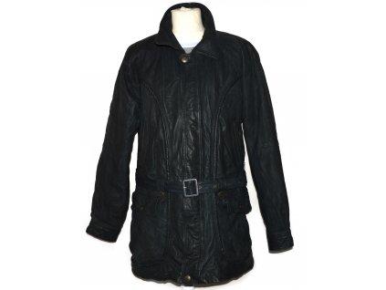 KOŽENÝ pánský černý zateplený měkký kabát s páskem XL