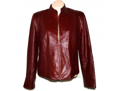 KOŽENÁ dámská červená měkká bunda na zip Marks&Spencer XXL