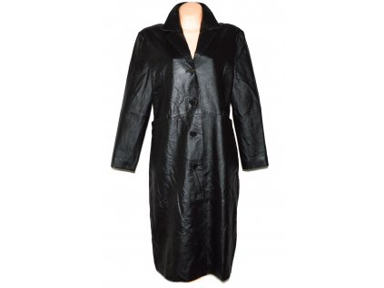 KOŽENÝ dámský černý měkký dlouhý kabát Modern Classics XXL