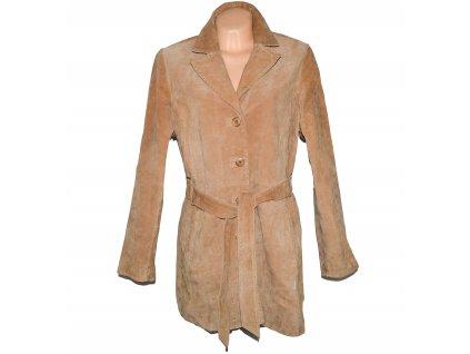 KOŽENÝ dámský hnědý broušený kabát s páskem LAKELAND XXL