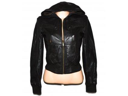KOŽENÁ dámská hnědá měkká bunda s kapucí TOPSHOP M