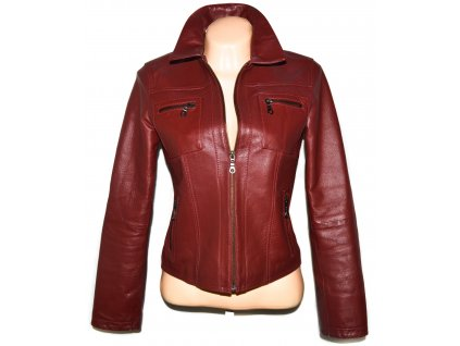KOŽENÁ dámská měkká vínová  bunda na zip M