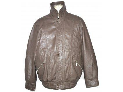 KOŽENÁ pánská hnědá měkká bunda na zip MORENA L