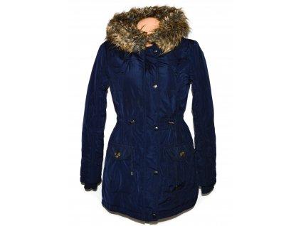 Dámský modrý šusťákový kabát s kapucí S