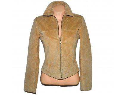 KOŽENÁ dámská hnědá broušená bunda na  zip Joie De Vivre S/M