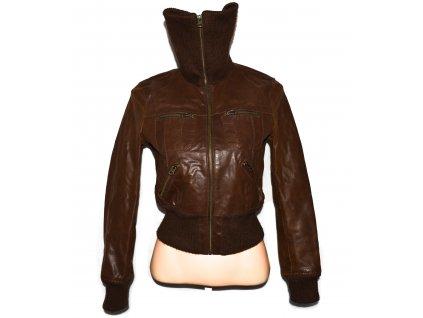 KOŽENÁ dámská hnědá bunda na zip TODAYS WOMAN