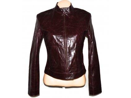 KOŽENÁ dámská vínová bunda na zip ZARA S