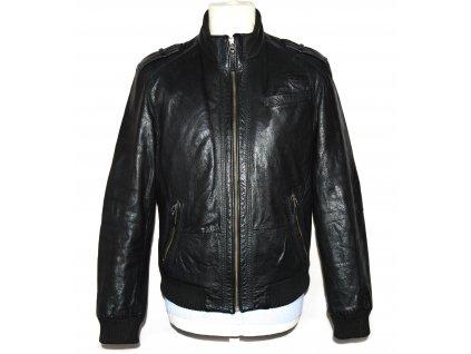 KOŽENÁ pánská černá měkká bunda na zip Marks&Spencer S