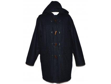 Vlněný pánský modrý zateplený kabát s kapucí XL