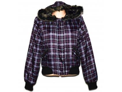 Dámská černorůžová kostkovaná bunda s kapucí L