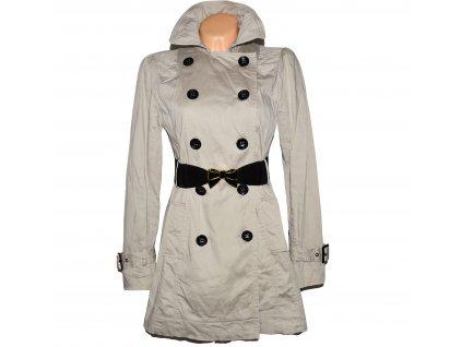 Bavlněný dámský béžový kabát s páskem NEW LOOK UK 12