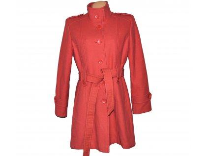 Vlněný (80%) dámský korálový kabát s páskem 44