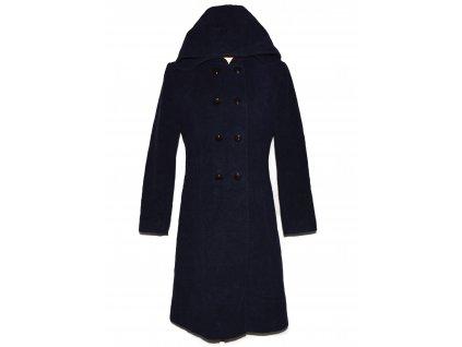 Vlněný (75%) dámský modrý dlouhý kabát s kapucí
