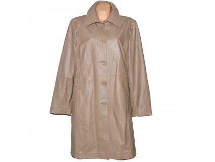 KOŽENÝ dámský měkký béžový kabát Steffel XXL