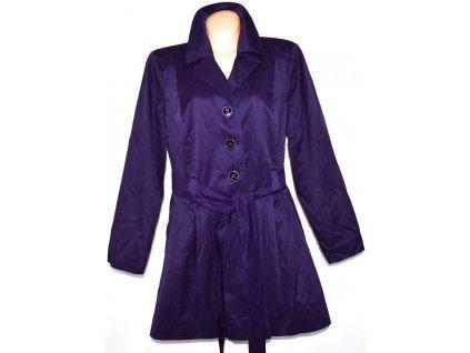 VELKÝ dámský bavlněný fialový kabát s páskem XXXL
