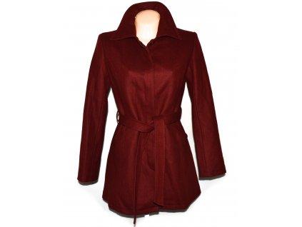 Vlněný dámský vínový kabát s páskem S/M