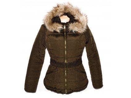 Dámský šusťákový khaki kabát s páskem a kapucí H&M 42