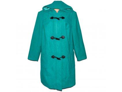 Vlněný dámský tyrkysový kabát s kapucí Mia Linea 26/52