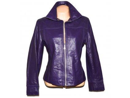 KOŽENÁ dámská fialová zateplená bunda na zip Pelle M