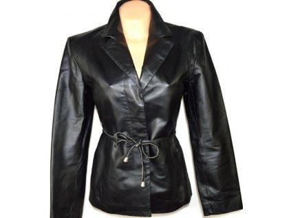 KOŽENÝ dámský černý kabát s páskem Modern Classics L