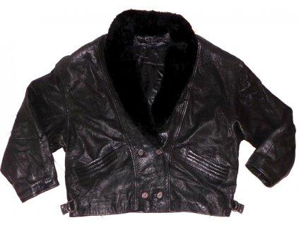KOŽENÁ dámská černá měkká bunda s kožíškem XXL
