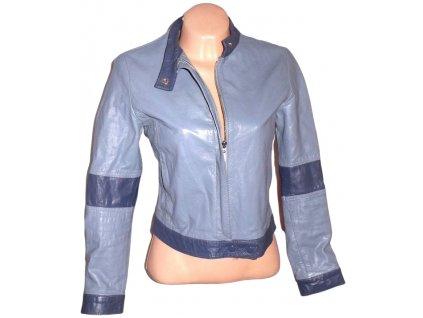 KOŽENÁ dámská modrá bunda na zip Stradivarius M