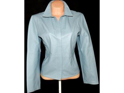 KOŽENÁ dámská modrá měkká bunda Marks&Spencer L