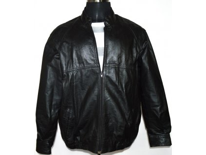 KOŽENÁ pánská černá bunda na zip M 2
