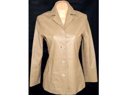 KOŽENÝ dámský hnědý/béžový kabát L