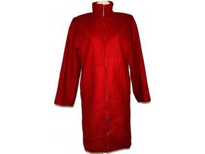 Vlněný dámský červený kabát na zip Marks&Spencer 42